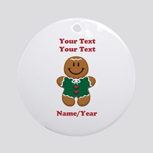 Personalize Gingerbread Baby [elf] Ornament (Round